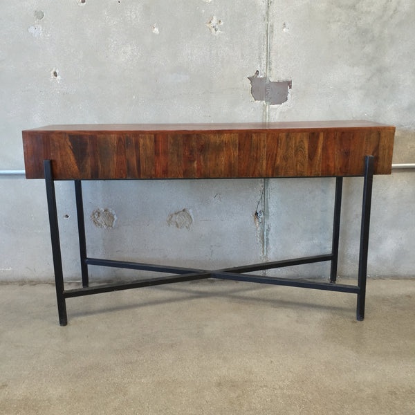 Wooden Sofa Table with Metal Frame