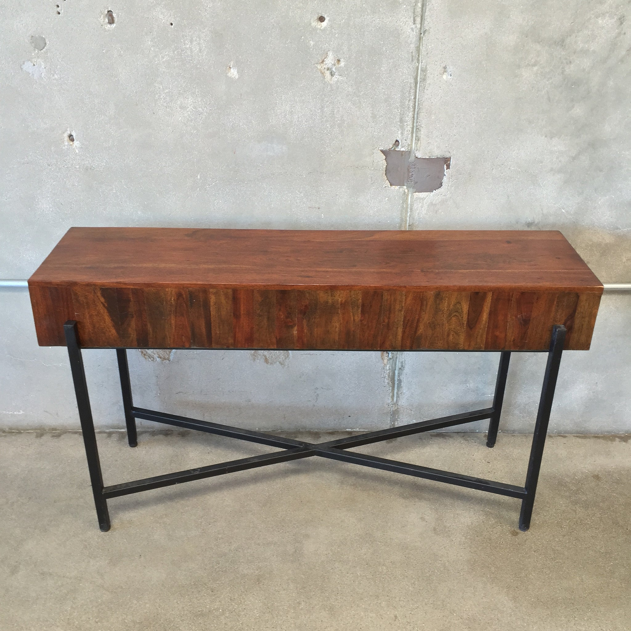 Wooden Sofa Table with Metal Frame – UrbanAmericana