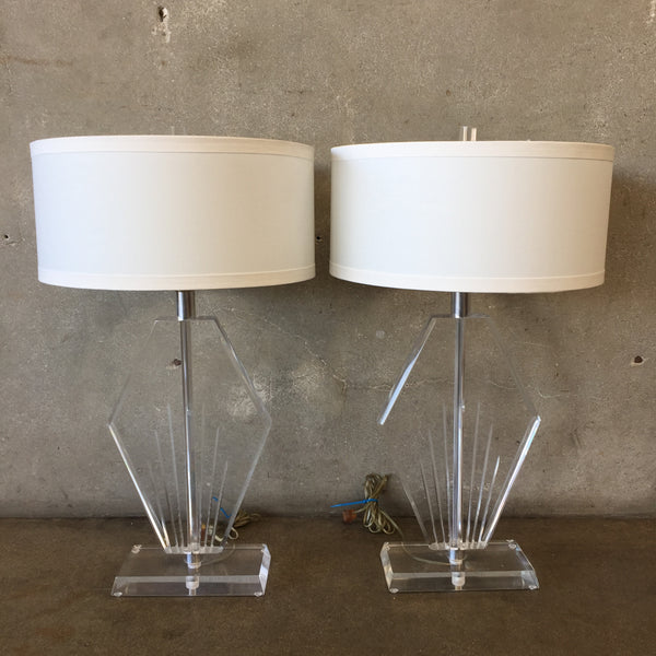 Pair of Mid Century Modern Lucite Lamps