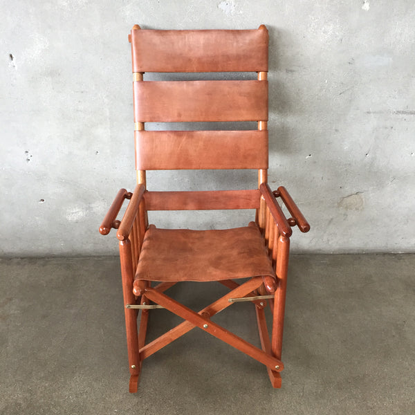 Vintage Leather High Back Rocking Chair