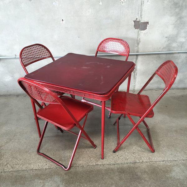 Vintage Red Metal Folding Card Table And 4 Chairs