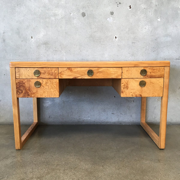 Mid Century Modern Burlwood Desk by Sligh Furniture