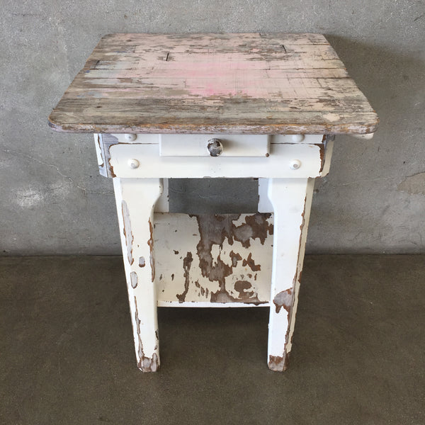 Vintage Kitchen Island with Drawer & Towel Bar