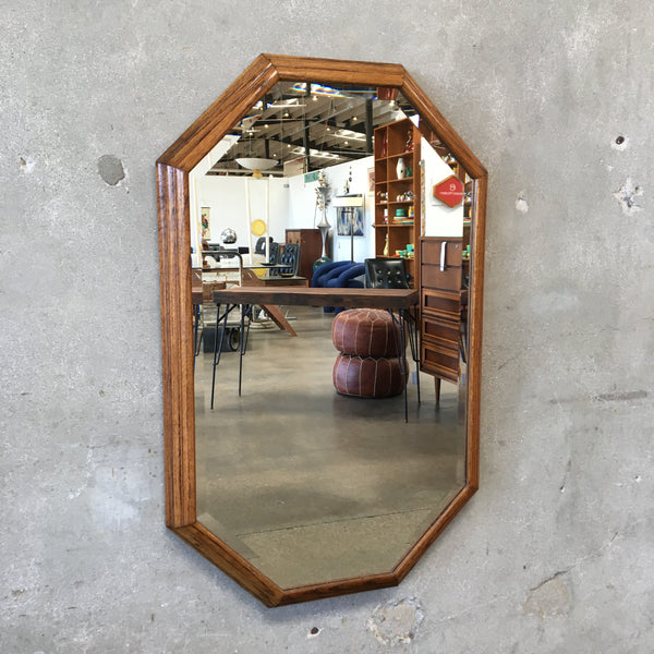 Vintage Beveled Mirror with Walnut Frame