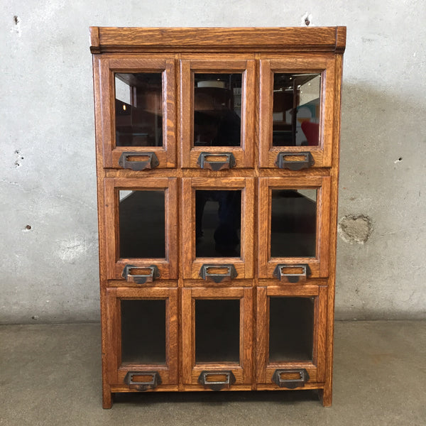 Vintage Nine Drawer Store Glass Front Cabinet