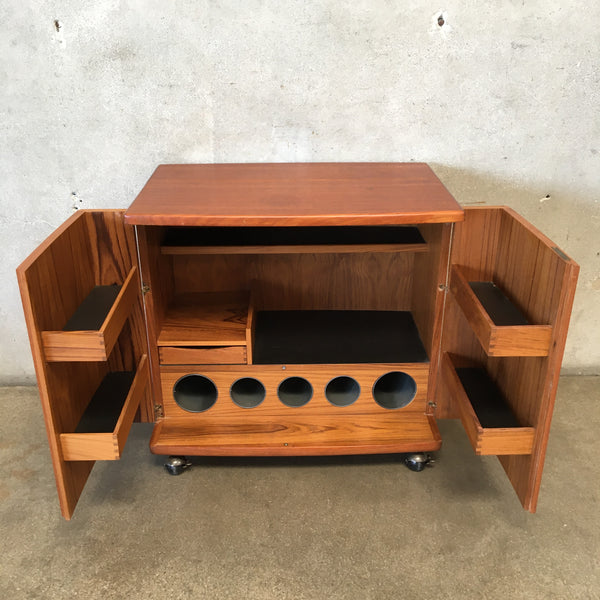 Mid Century Danish Teak Bar Cabinet on Casters