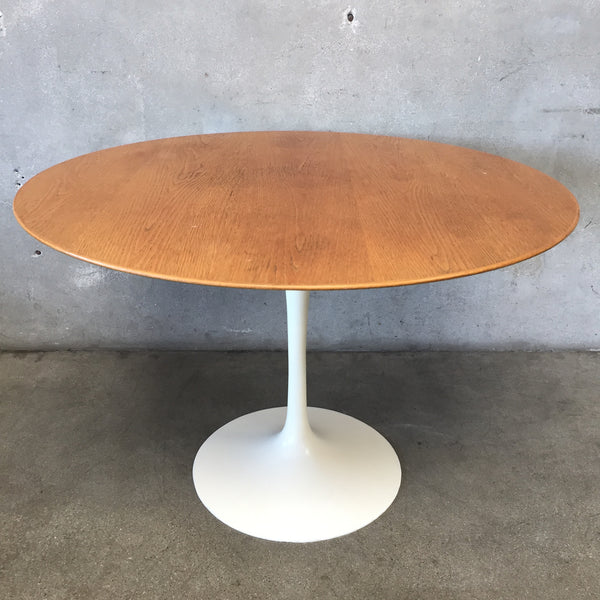 Vintage MCM Oak Tulip Table