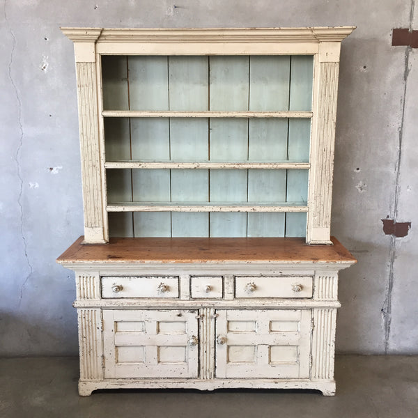 Large Vintage Farmhouse Wood Hutch