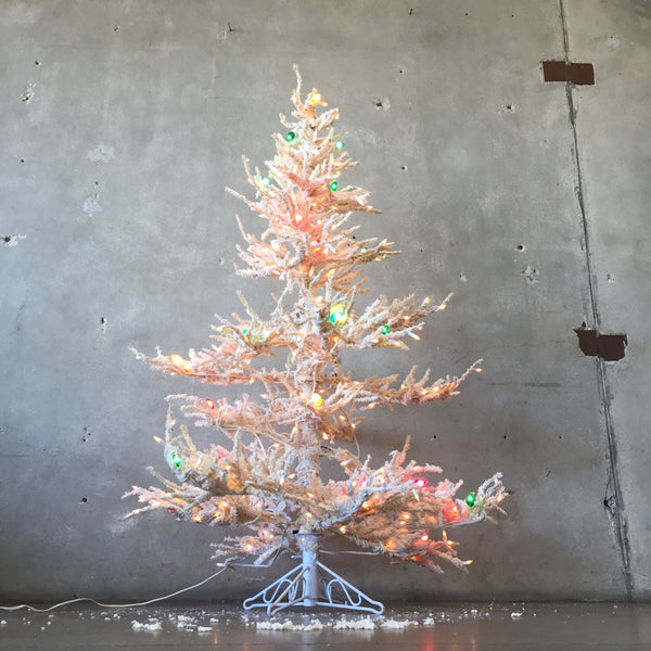 Vintage Flocked White Christmas Tree With Lights