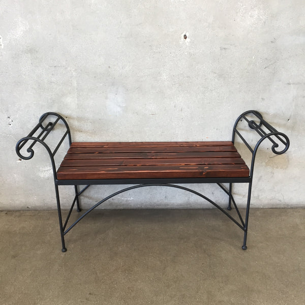Vintage Iron and Wood Slat Patio Bench
