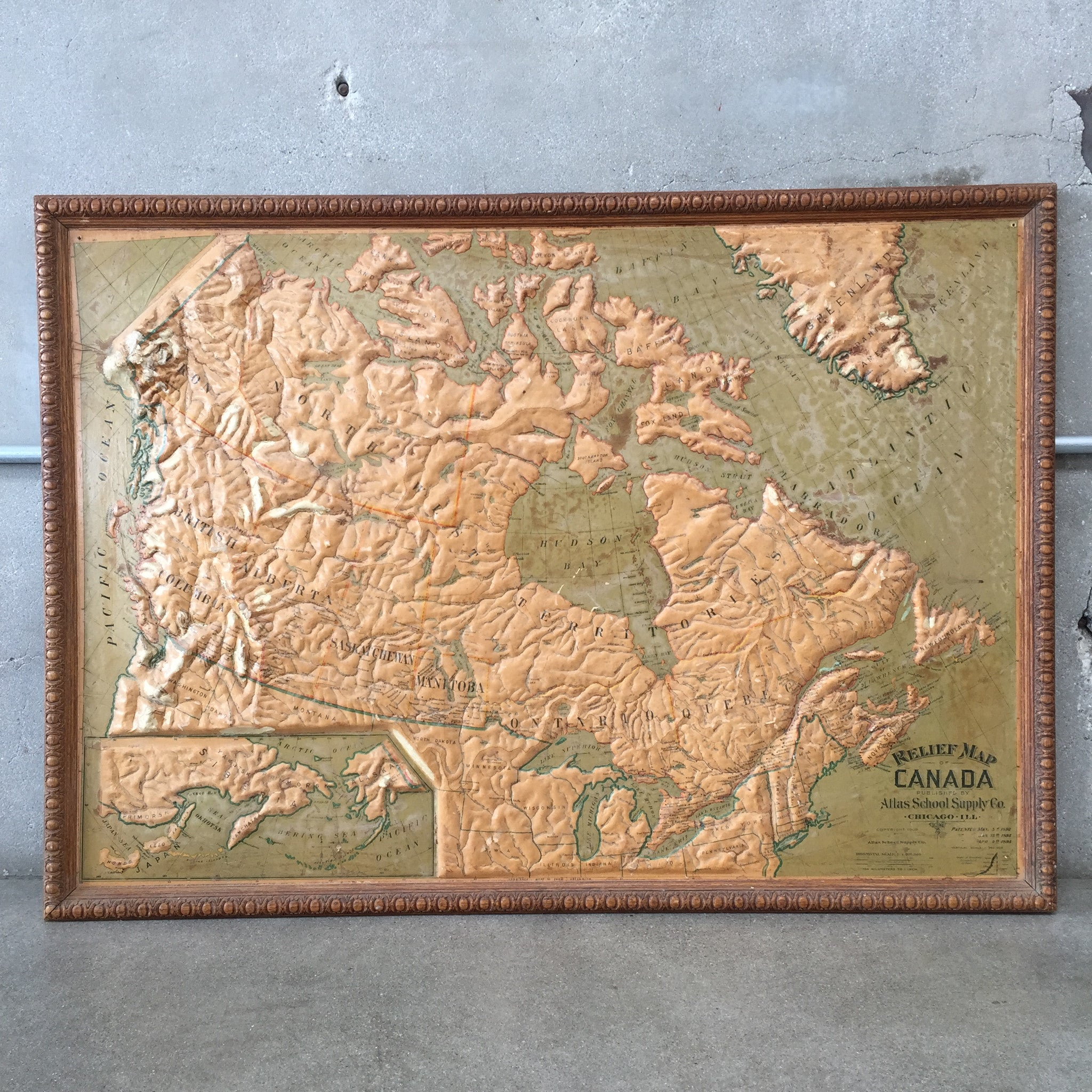 Vintage School Relief Map Of Canada Circa UrbanAmericana - Relief map of canada