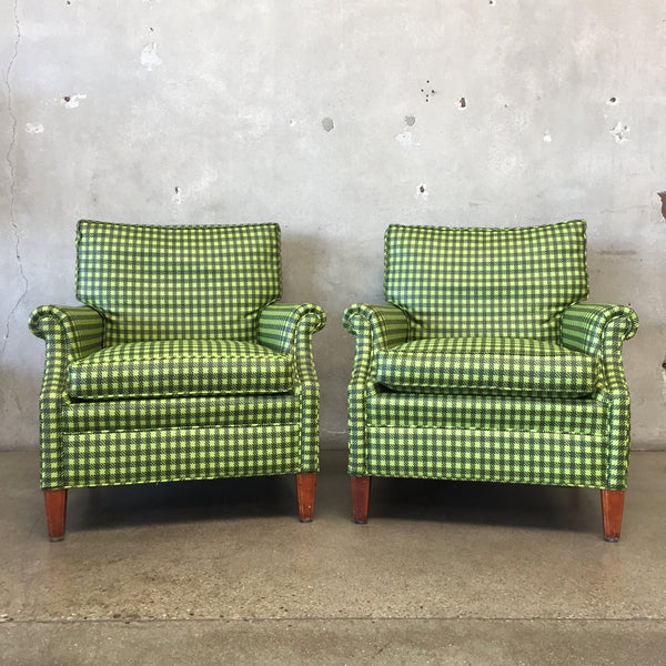 Pair of Green Plaid Vinyl Fred Miller Chairs