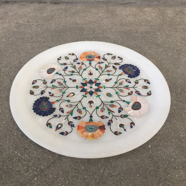 Alabaster Marble Dish with Stone Inlay