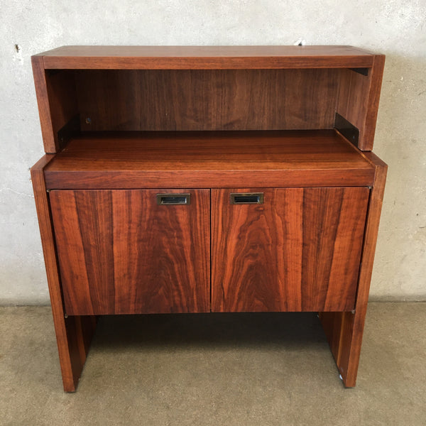 Mid Century Walnut Petite Credenza With Hutch
