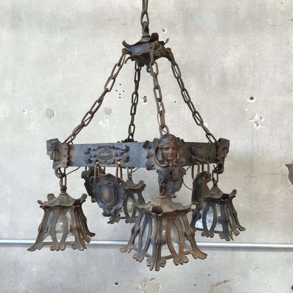 Arts Crafts Spanish Revival Hanging Light Fixture