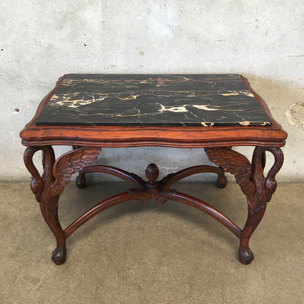 Italian Hand Carved Black Marble Top Table