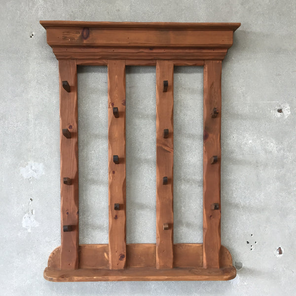 Vintage Pine Wood Hat Rack