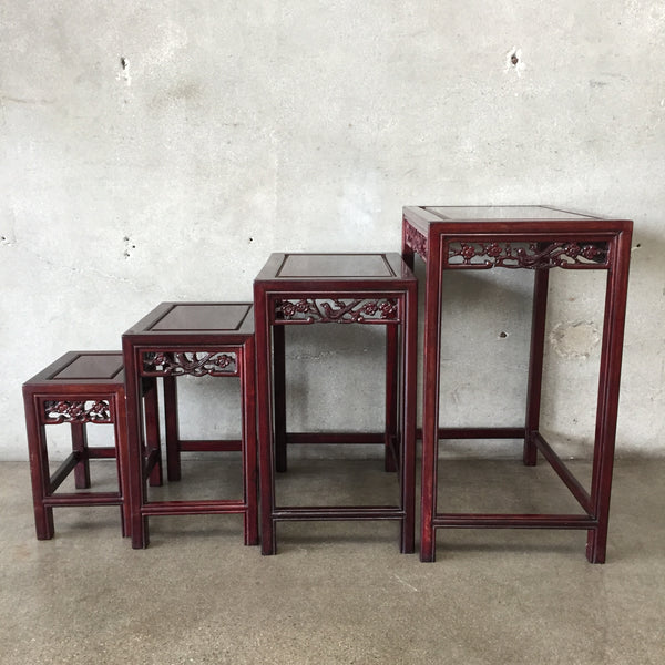 Set of Four Asian Carved Nesting Tables