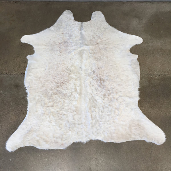 Rare Long Haired White Brazilian Cowhide