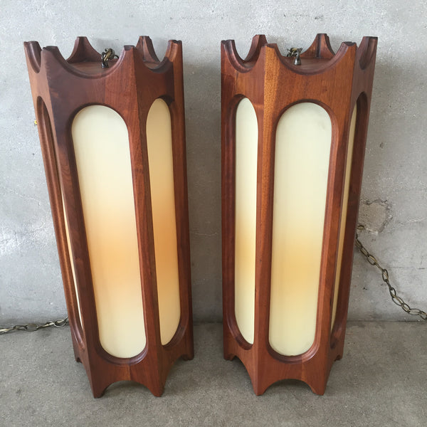 Mid Century Modern Walnut Swag Lamps