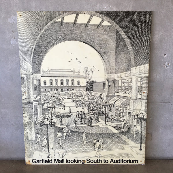 Vintage Carlos Diniz Panel Of Garfield Mall Pasadena