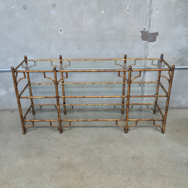 Gilt Asian Metal and Glass Faux Bamboo Console