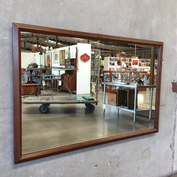 Mid Century Modern Mirror in Walnut Frame