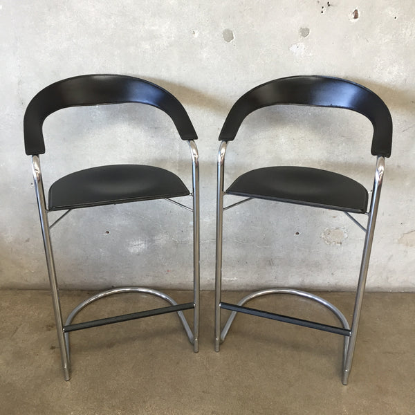 Pair of Mid Century Leather & Chrome Bar Stools
