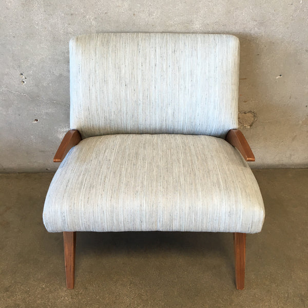 Mid Century Walnut Chair with Silk Blend Upholstery