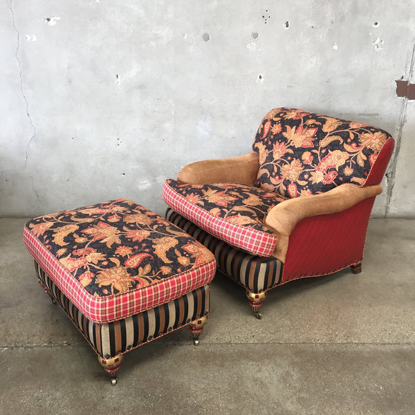 "Vintage ""Mackenzie Childs"" Over Sized Chair & Ottoman"