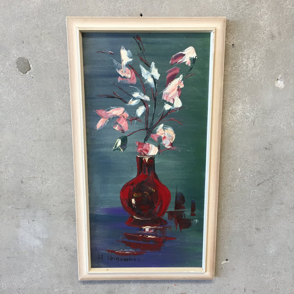 Mid Century Flower Vase Still life Oil on Canvas