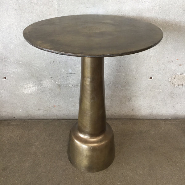 Brass Moroccan Pedestal Side Table