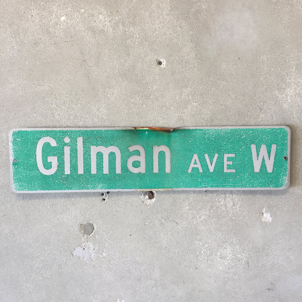 Vintage Seattle St Sign Gilman Ave W