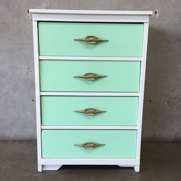 Vintage White and Mint Green Dresser
