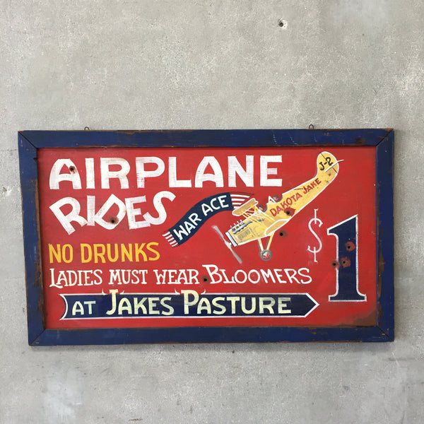 "Vintage Style Wood Framed ""Airplane Rides $1.00"" Metal Sign"