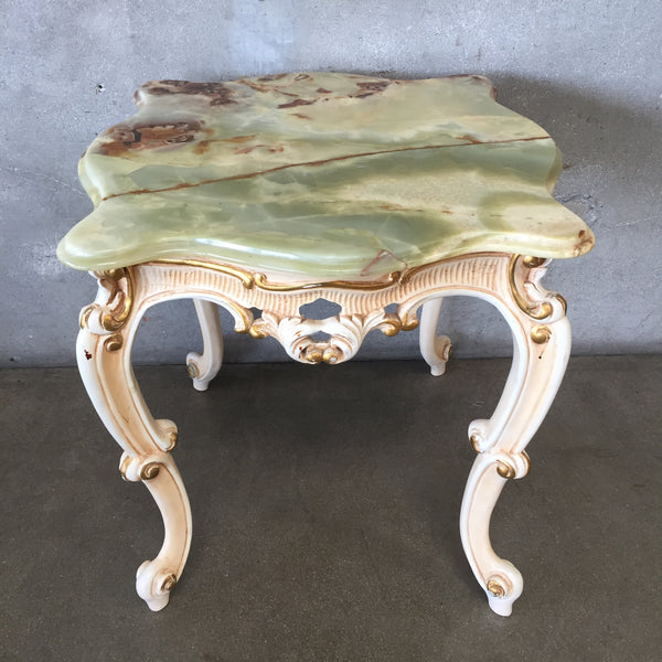 French Rococo Style Onyx & Wood Side Table