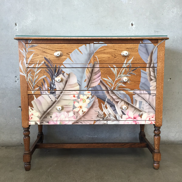 1930's Antique Botanical Design Dresser