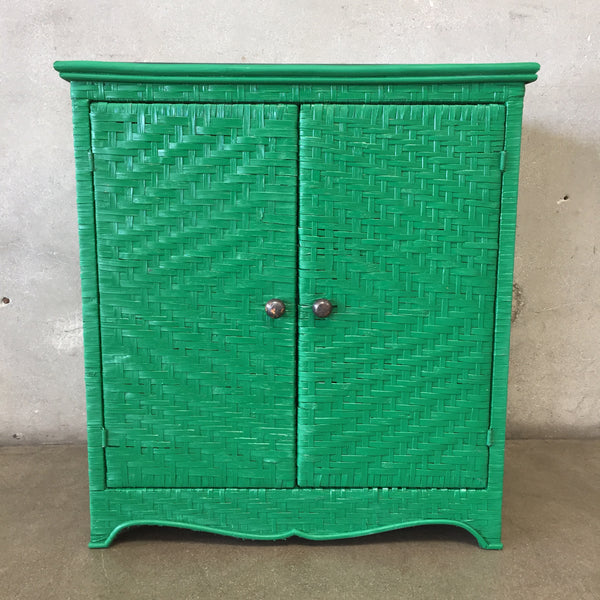 Wicker Rattan Green Cabinet