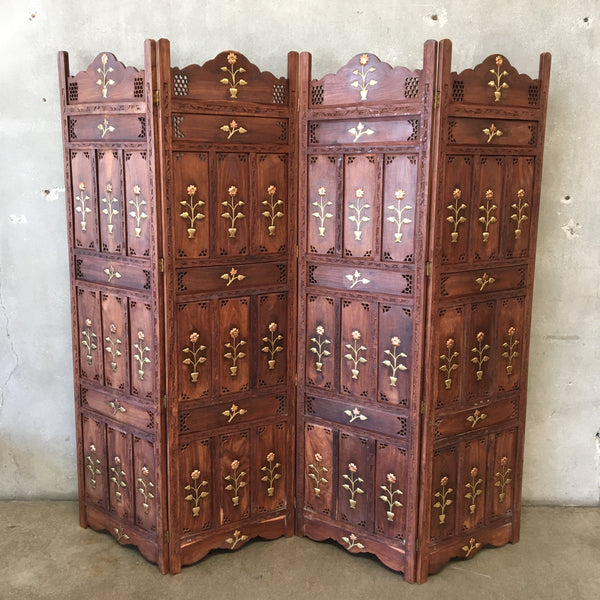 Indonesian 4 Panel Screen w Brass & Copper Inlaid on Carved Wood