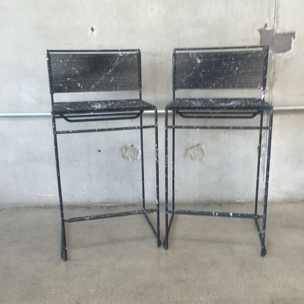 Pair of Fly Line Spaghetti Bar Stools by Belotti