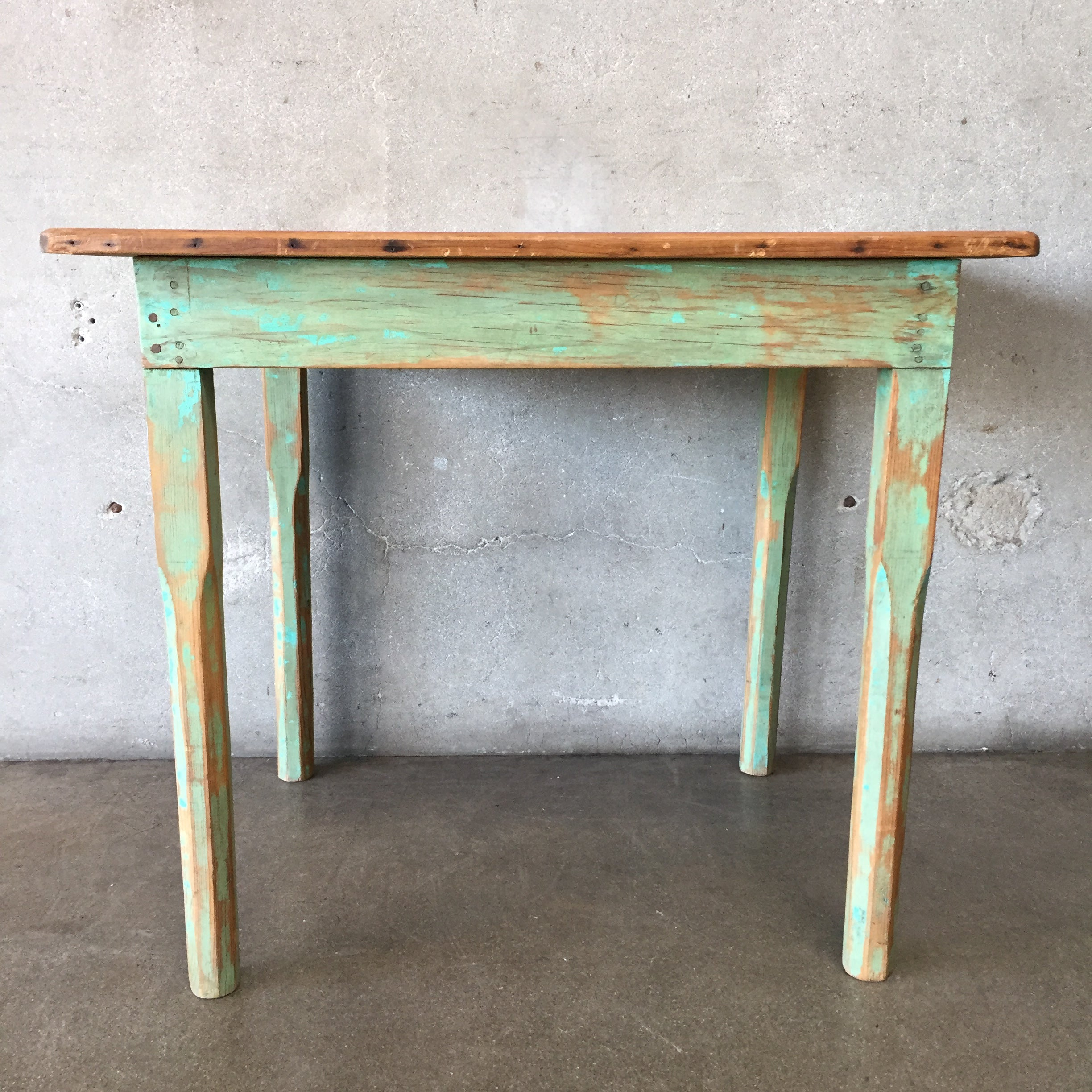 Vintage Green Rustic Mexican Wood Table
