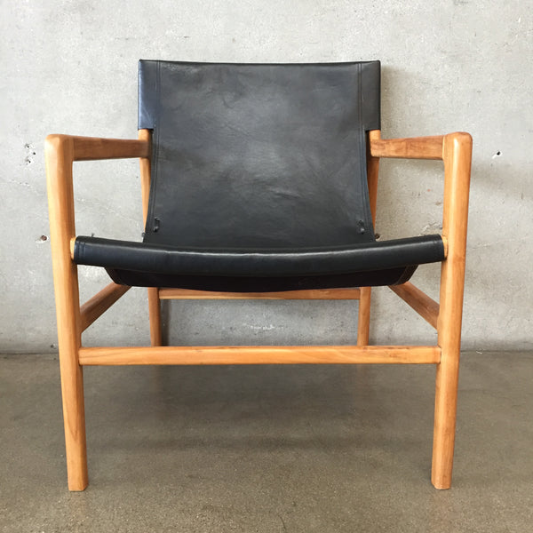 Mid Century Modern Leather & Teak Sling Chair