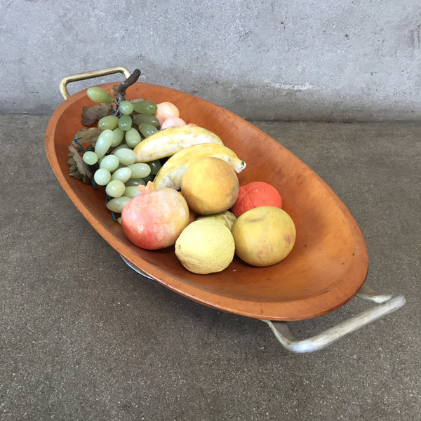 Large Collection of Stone Fruit in Wooden Bowl