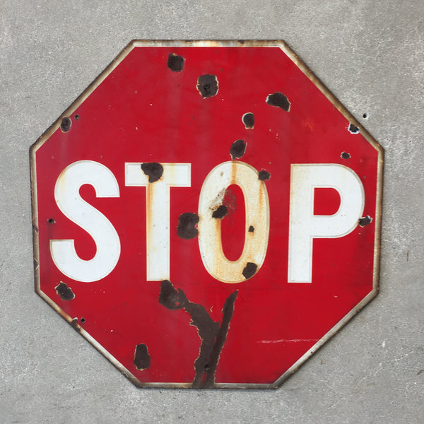 Vintage 1950's Porcelain Stop Sign