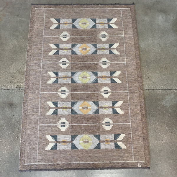 1960's Swedish Ingegard Silow Flat Weave Rug