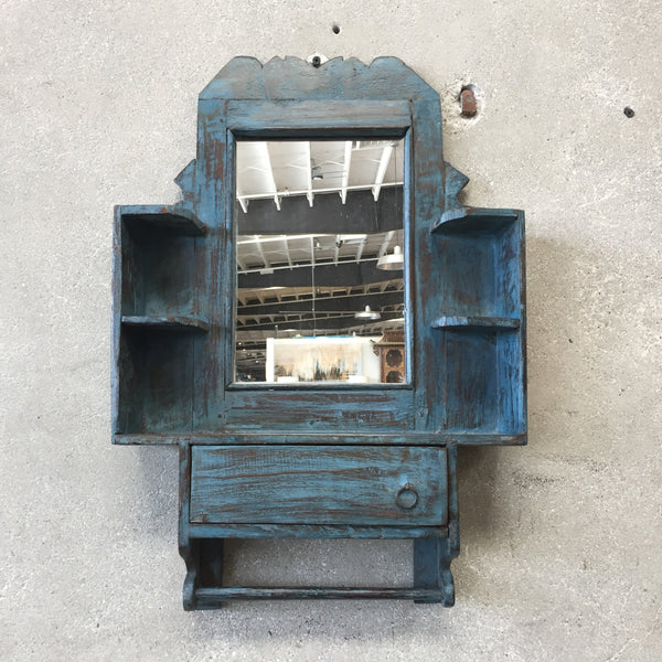 Antique European Blue Barber Mirror