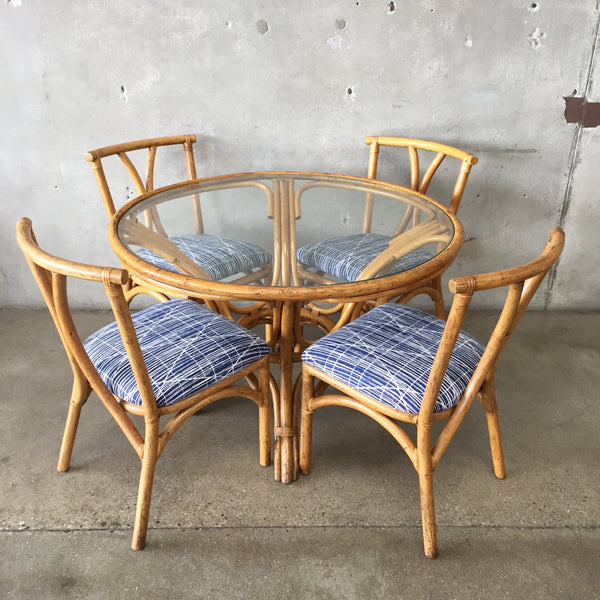 Vintage Rattan Table & Chairs