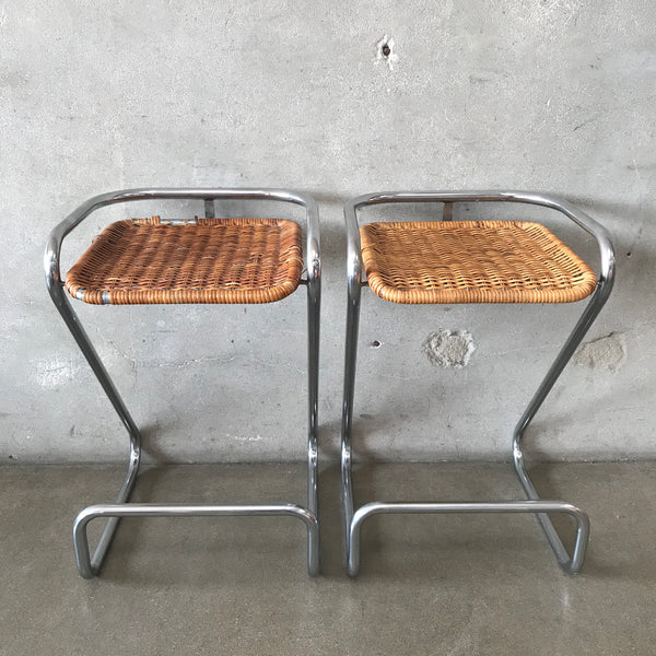 Pair of Mid Century Modern Chrome & Wicker Italian Stools