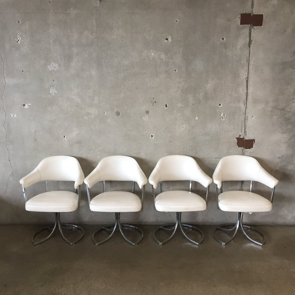 Set of Four Mid Century Vinyl & Chrome Chairs