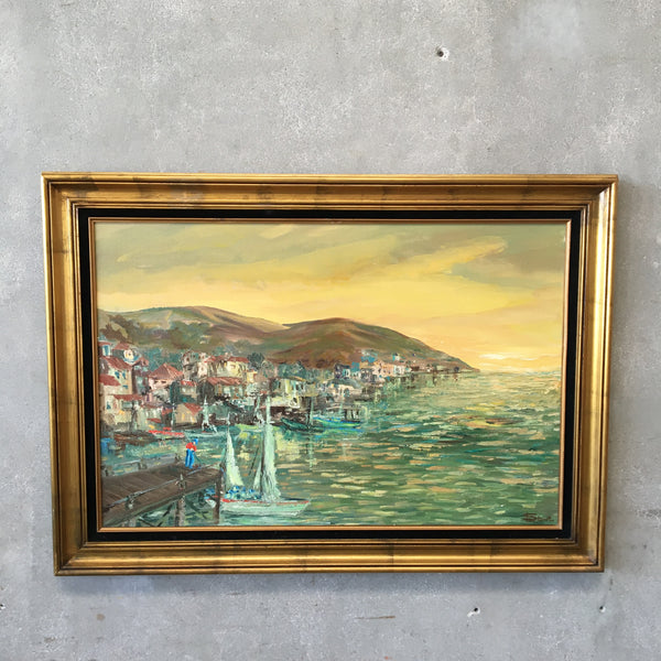 MCM Impressionist Sea Side Town Scape Oil On Canvas Signed